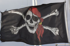 Jolly Roger Black Pirate Flag Immagine Stock Libera da Diritti