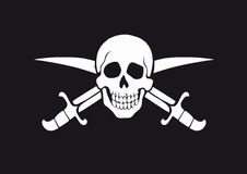 Jolly Roger Black. Black and white pirate flag Jolly Roger with skull and swords vector illustration