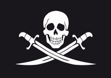 Jolly Roger Black. Black and white pirate flag Jolly Roger with skull and swords stock illustration