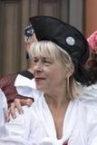 Jolly Roger che sorvola festival del pirata di Liverpool Liverpool Immagini Stock