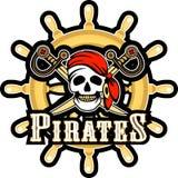 Jolly Roger emblem stock illustrationer
