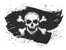 Jolly Roger flag. Grungy torn jolly roger flag with a skull and crossed bones. EPS10 vector monochrome illustration. Hand drawn image Stock Photography