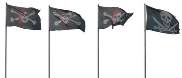 Jolly Roger flags. Isolated on white Stock Image