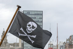 Jolly Roger flying over Liverpool Liverpool Pirate festival Stock Photos