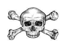 jolly roger Hand dragen mänsklig skalle och korslagda benknotor Skissa vektorillustrationen royaltyfri illustrationer