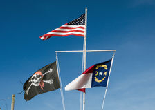 Jolly Roger im North Carolina Lizenzfreie Stockfotos