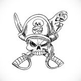 Jolly Roger with parrot sketch Royalty Free Stock Images