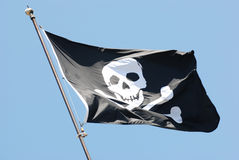 Jolly Roger pirate black flag Royalty Free Stock Photography
