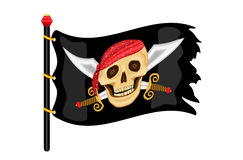 Jolly Roger Pirate Flag. The Jolly Roger - pirate flag waving in the wind. Vector file saved as EPS AI8 is now pending inspection royalty free illustration
