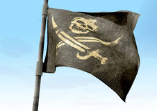Jolly Roger Pirate Flag Closeup Stock Image