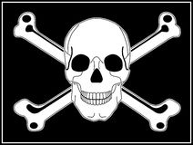 Jolly Roger Pirate Flag With Skull and Crossbones. Jolly Roger white skull and crossbones on a black rectangular flag with white border Stock Images