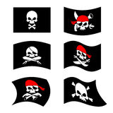 Jolly Roger. Pirate flag. Skull and crossbones. skeleton head in Stock Photos