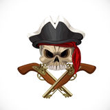 Jolly Roger in pirate hat and with pistols Stock Photography