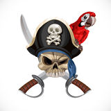 Jolly Roger in pirate hat with sabers and parrot Royalty Free Stock Photography