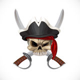 Jolly Roger in pirate hat and with sabers Stock Image