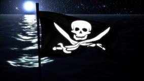 Jolly Roger Pirate Ship Flag Intro Logo Motion Background royalty-vrije illustratie