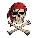 Jolly Roger pirate skull and crossbones. Pirate skull and crossbones, also known as Jolly Roger, wearing a bandana Royalty Free Stock Photo