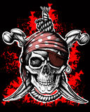 Jolly Roger, pirate symbol. With crossed daggers and rope on the black and red background stock illustration
