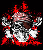 Jolly Roger pirate symbol with crossed bones. Jolly Roger pirate symbol with crossed daggers on the black and red background Stock Image