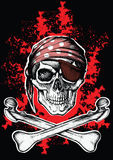 Jolly Roger a pirate symbol with crossed bones. Jolly Roger pirate symbol with crossed daggers on the black and red background Royalty Free Stock Photo