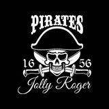Jolly Roger pirate vector flag or poster Royalty Free Stock Image