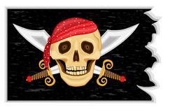 Jolly Roger Pirates' Flag. The Jolly Roger - Pirate black flag with human skull, golden tooth and crossed swords. Vector file saved as EPS AI8 is now pending royalty free illustration