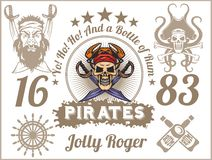 Jolly Roger - piratkopiera designbeståndsdelar vektor för set för tecknad filmhjärtor polar vektor illustrationer