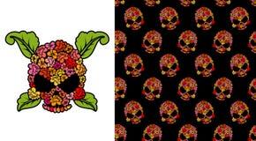 Jolly Roger of roses. Flower skull. Pattern skulls. Vector illus Stock Images