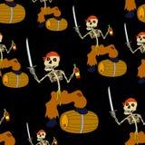 Jolly Roger Skeleton Seamless Royalty-vrije Stock Foto