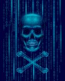 Jolly roger skull binary code numbers. Hacker piracy computer online attack alert. Scary warning hacking safety data Royalty Free Stock Images