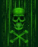 Jolly roger skull binary code numbers. Hacker piracy computer online attack alert. Scary warning hacking safety data Royalty Free Stock Photography