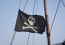 Jolly Roger skull and crossbones flag Royalty Free Stock Image