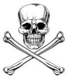 Jolly Roger Skull e tibie incrociate illustrazione di stock