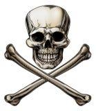 Jolly Roger Skull y muestra de la bandera pirata Foto de archivo libre de regalías
