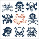 Jolly Roger symbols - vector set on white background. . Pirates skulls and Captain skeleton in bandana or tricorne hat Royalty Free Stock Photography