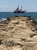 The Jolly Roger is in town . Landlubbers ahoy!. Paphos Cyprus. 2017 Royalty Free Stock Photography