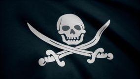 Jolly Roger is traditional English name for flags flown to identify pirate ship about to attack. Animation of the pirate stock illustration