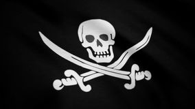 Jolly Roger is traditional English name for flags flown to identify pirate ship about to attack. Animation of the pirate. Flag with bones waving seamless loop stock photos
