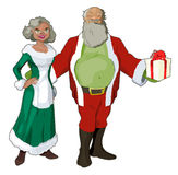 Jolly Saint Nick and his Bride. An African American variation of Santa Claus with his wife posing for your greeting card, article or spread. Characters separated vector illustration