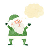 Jolly santa cartoon with thought bubble Stock Images