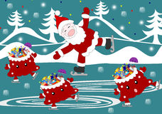 Jolly Santa Claus and bag with gifts celebratory skate. On the rink Royalty Free Stock Photography