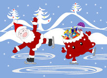 Jolly Santa Claus and bag with gifts celebratory skate. On the rink Stock Image