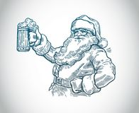 Jolly Santa Claus with beer. Jolly Santa Claus with a beer in hand. Sketch is drawn by hand and converted to vector format vector illustration