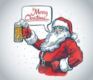 Jolly Santa Claus. With a beer in hand and with a speech bubble stock illustration