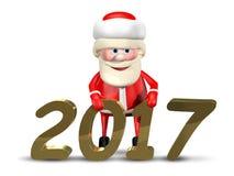 Jolly Santa Claus-_2017 der Illustrations-3D Stockfotografie