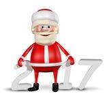 Jolly Santa Claus-_2017 der Illustrations-3D Lizenzfreies Stockbild