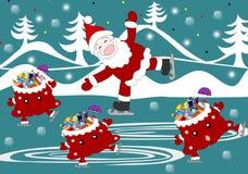 Jolly Santa Claus et sac avec le patin de célébration de cadeaux Photographie stock libre de droits