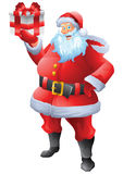 Jolly Santa claus holding christmas present Royalty Free Stock Photo