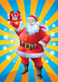 Jolly Santa claus holding christmas present sun rays background Stock Photos