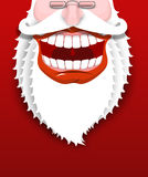 Jolly Santa Claus. Joyful grandfather with white beard. Broad sm Royalty Free Stock Photography